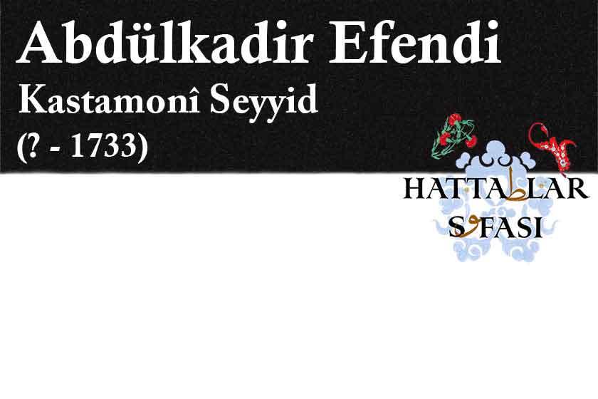 Hattat Kastamonulu Seyyid Abdülkadir Efendi, Hayatı ve Eserleri