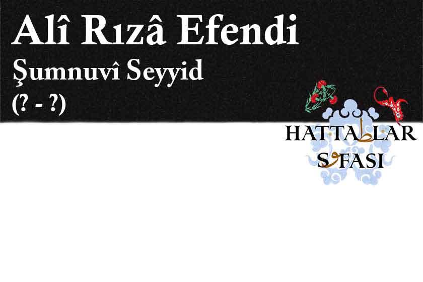 Hattat Şumnulu Seyyid Ali Rıza Efendi, Hayatı ve Eserleri