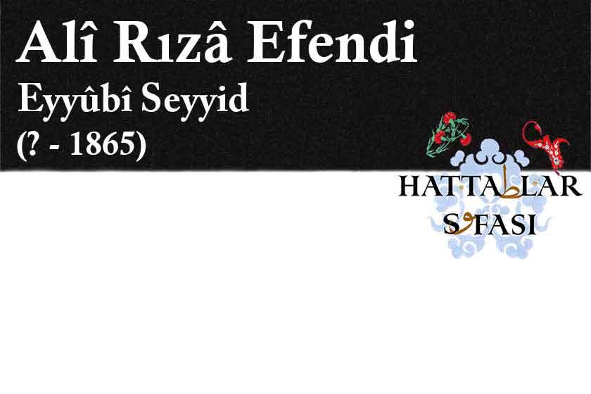 Hattat Eyüplü Seyyid Ali Rıza Efendi, Hayatı ve Eserleri
